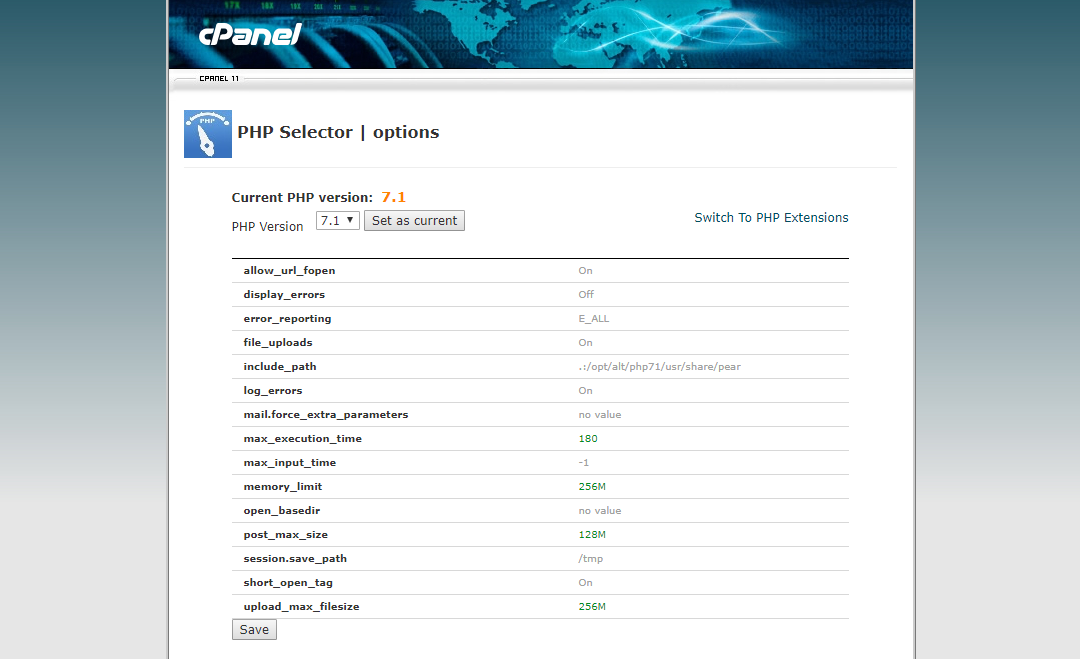 cPanel-PHP-Selector-options